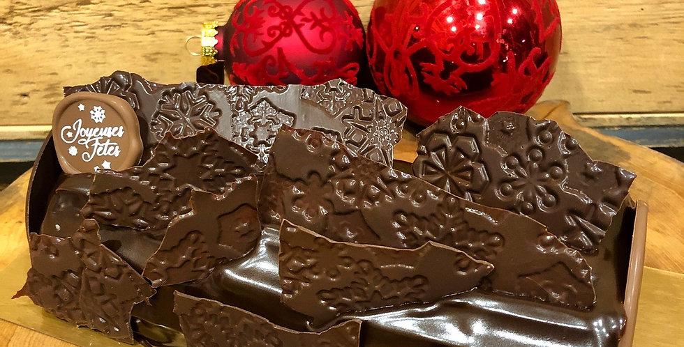 Bûche chocolat-caramel salé