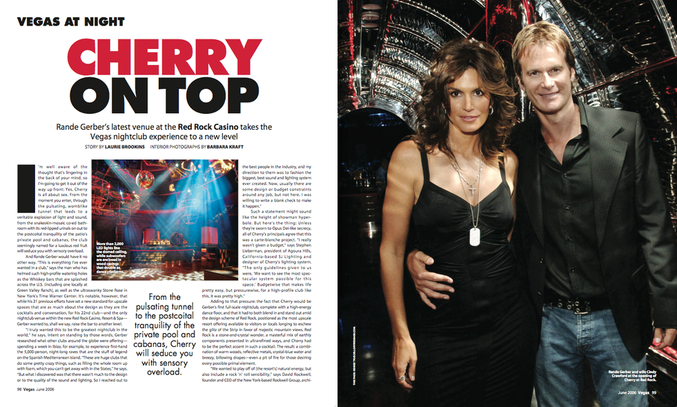 An interview with Rande Gerber for Vegas magazine.