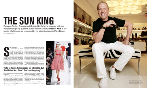 An interview with Michael Kors for Ocean Drive magazine.