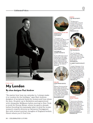An interview with Paul Andrew for Celebrated Living.