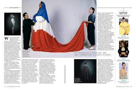 A feature about Azzedine Alaia for Celebrated Living.