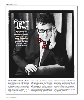 An interview with Alber Elbaz for Gotham magazine.