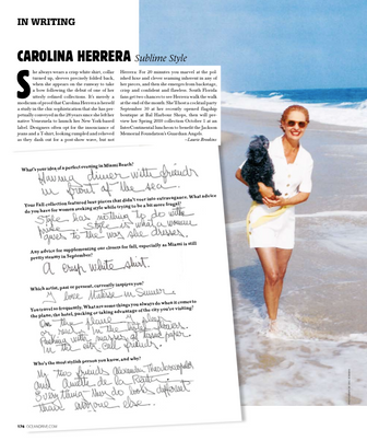 An interview with Carolina Herrera for Ocean Drive magazine.