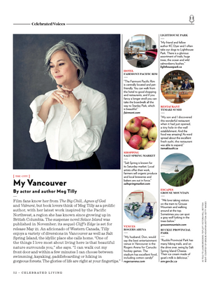 An interview with Meg Tilly for Celebrated Living.