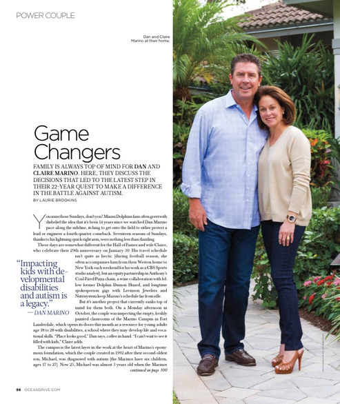 An interview with Dan and Claire Marino for Ocean Drive magazine.