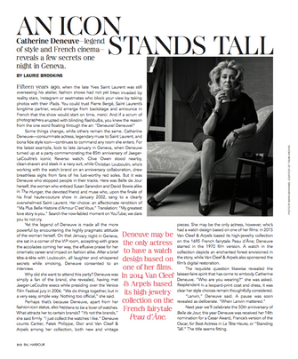 A Catherine Deneuve feature for Bal Harbour magazine.
