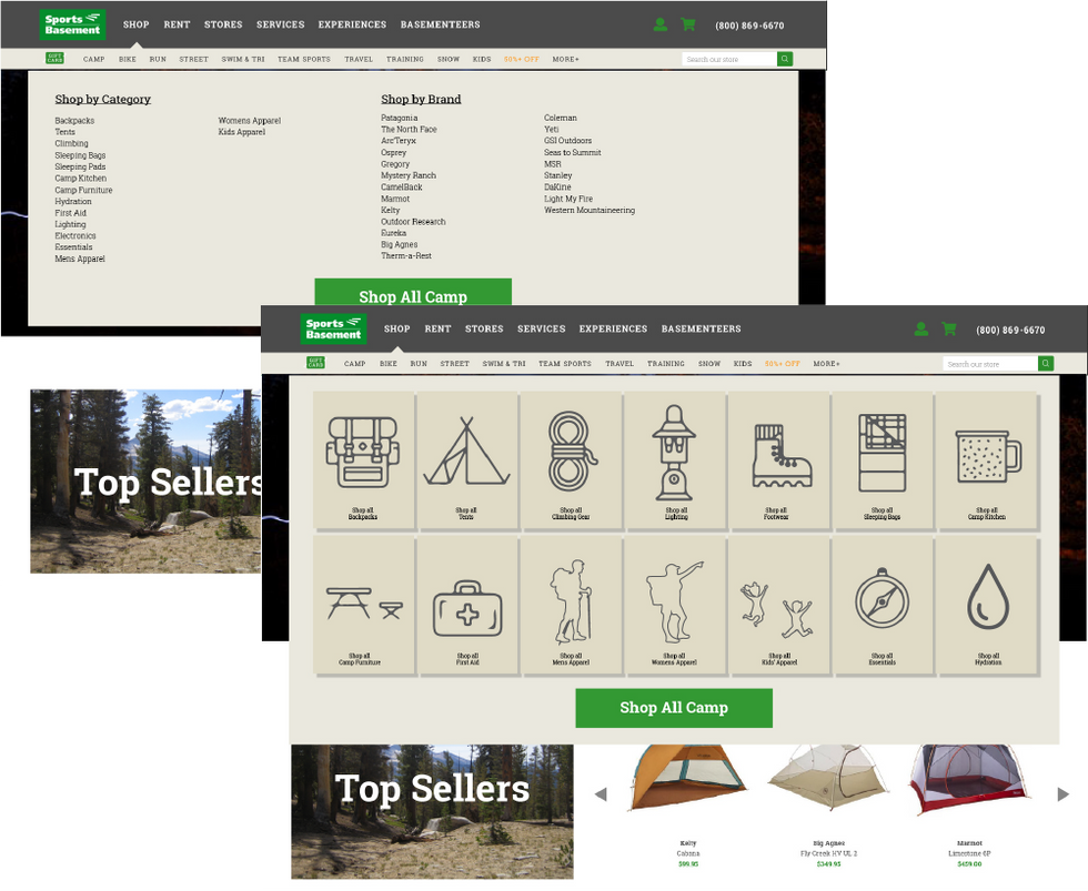 Camp and Hike Sub-Menu Flyout Examples; Early Versions