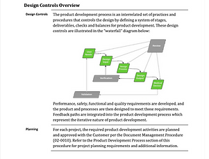 Research Manufacturing Design Controls Product Development Medical Device Component