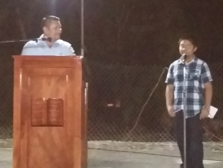 Kawika translates sermon for Pastor Irving in Cantamayec