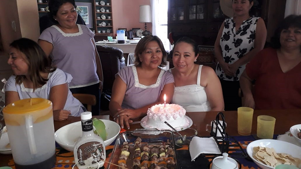 Kawika's former preschool and elementary school's teachers from Yaldud celebrate birthdays during a luncheon in our home