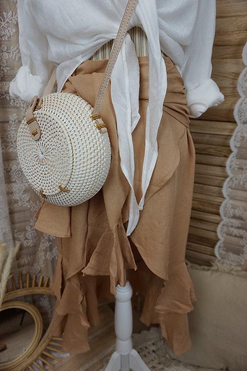 Bali Tasche weiß rund