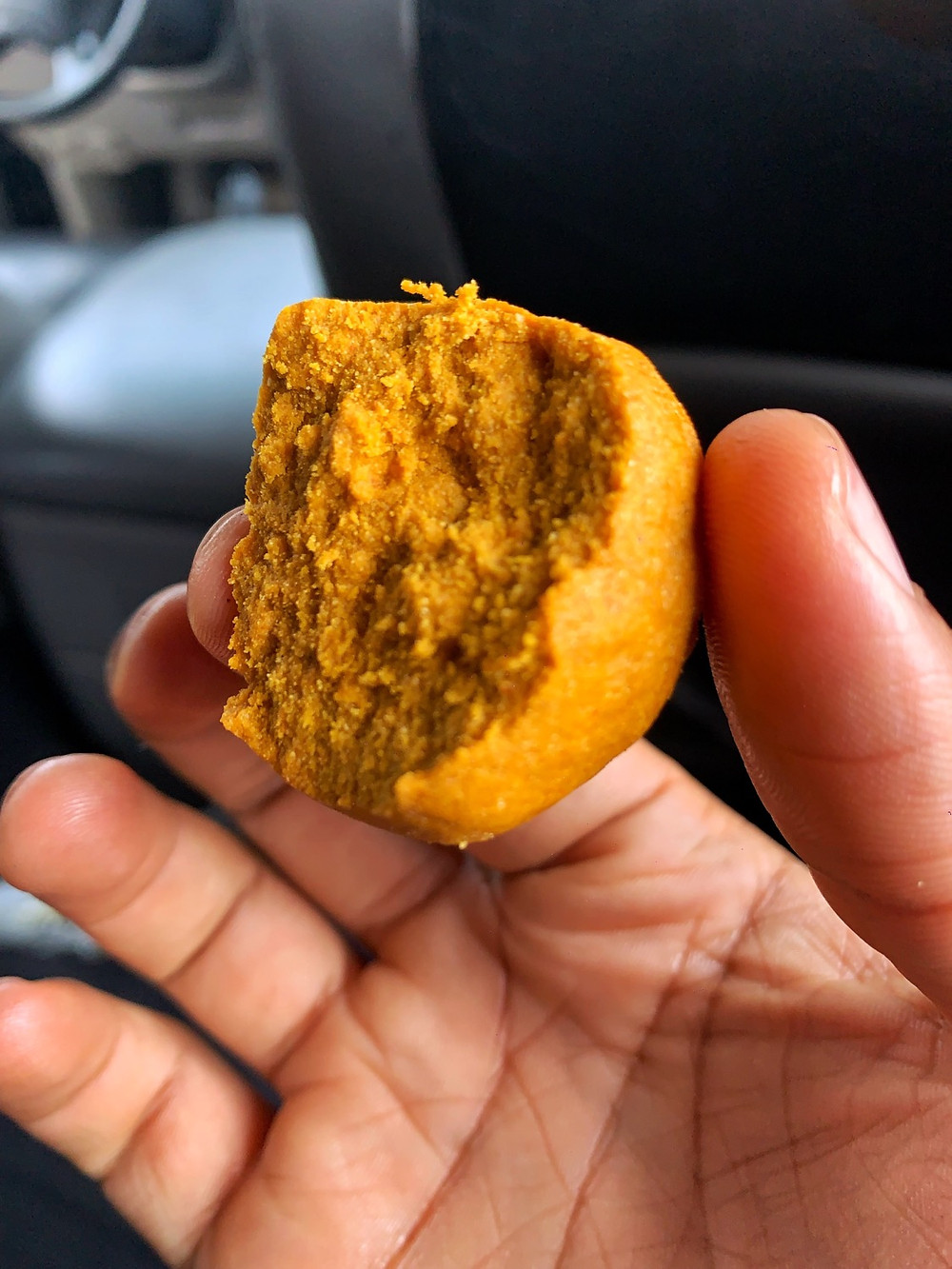 Aadun is a snack made from corn meal and palm oil