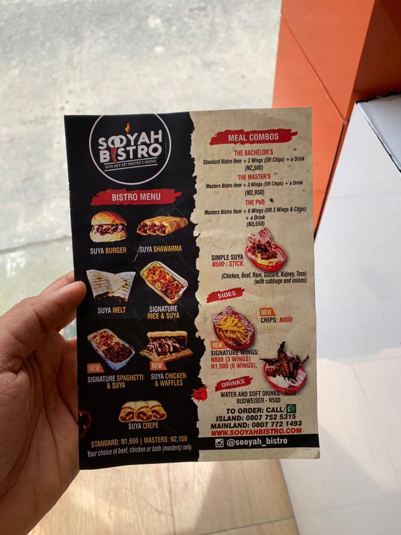 Sooyah Bistro menu