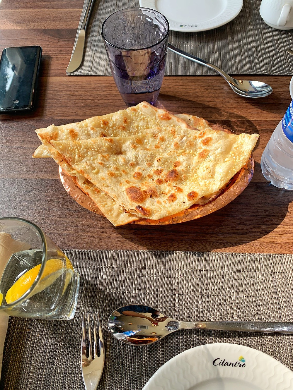 Garlic naan at Cilantro, Lagos