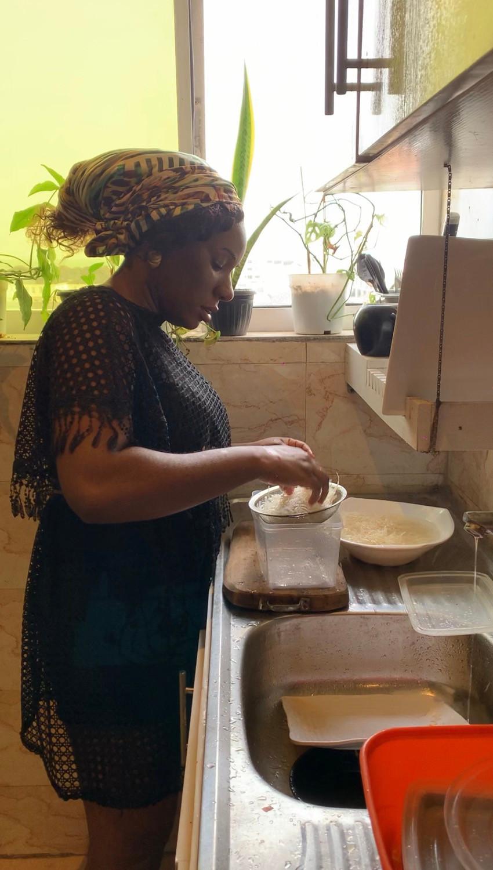 Chef Obubu prepping Abacha