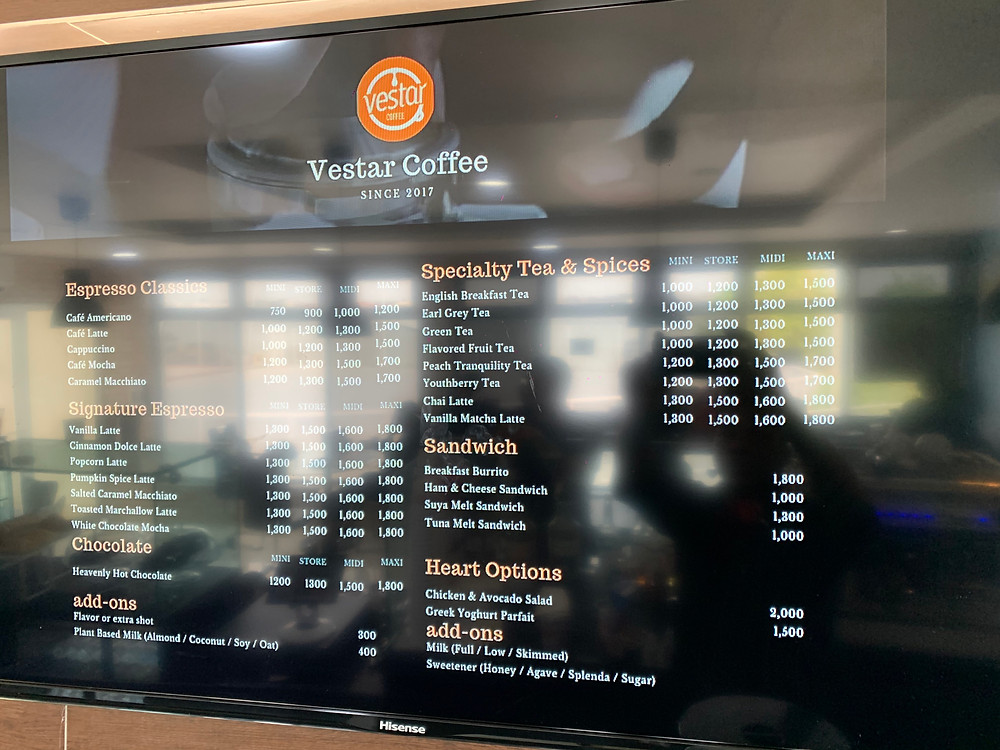 The menu at Vestar coffee, Lekki