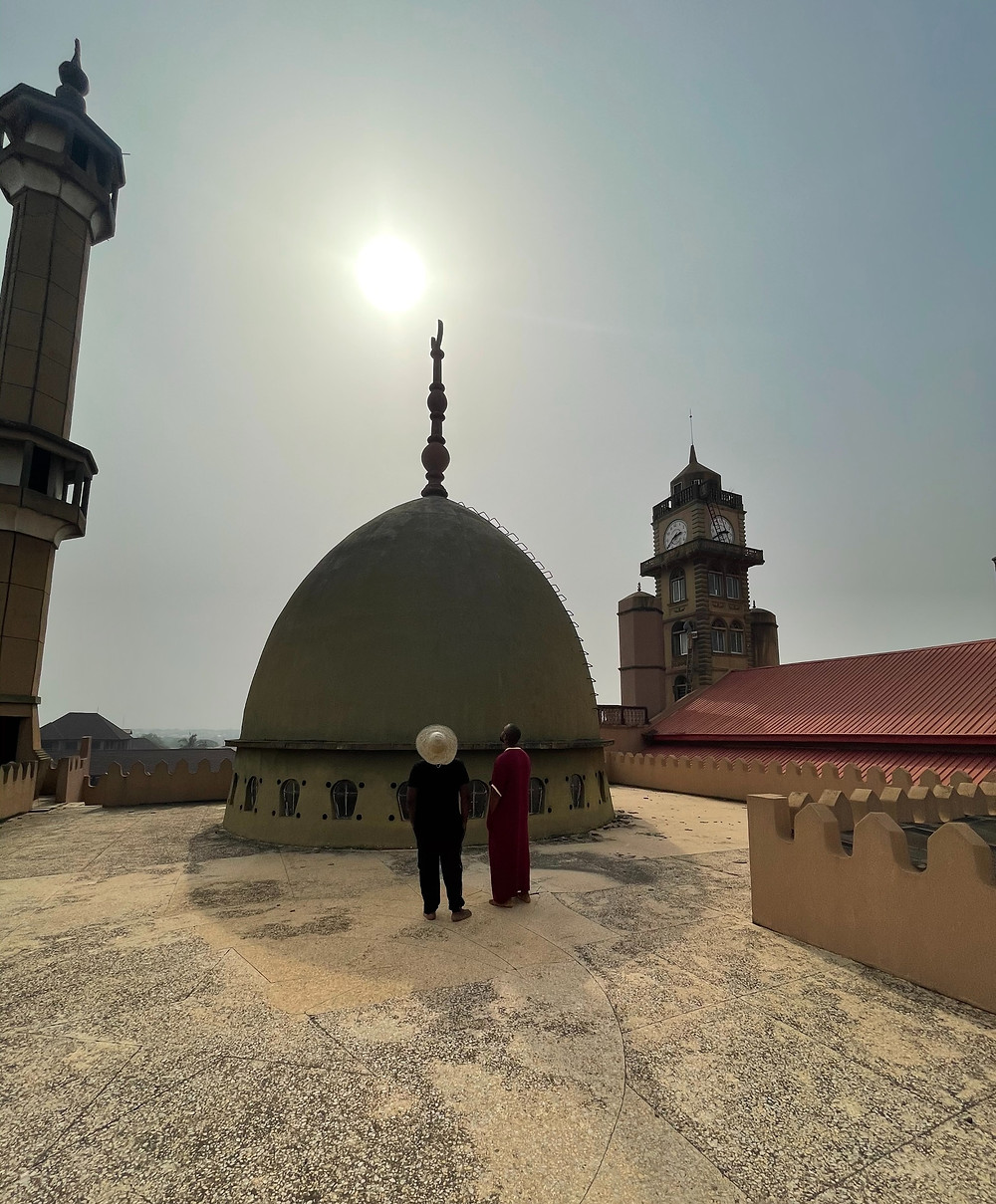 This is the roof of the Offa Central Mosque in the morning