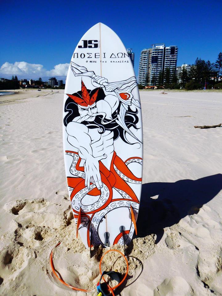 surfboard painting - poseidon