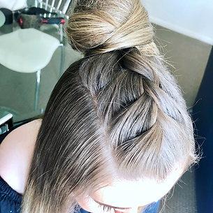Trending braid & topknot