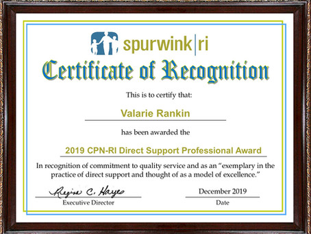 Valarie Rankin named the 2019 recipient of the CPNRI Direct Support Professional of the Year