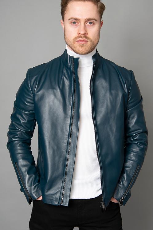 Adria Blue Crusader Leather Jacket