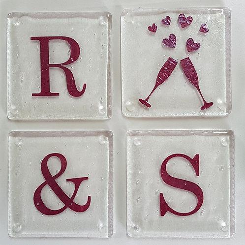Personalised Wedding Coaster Set
