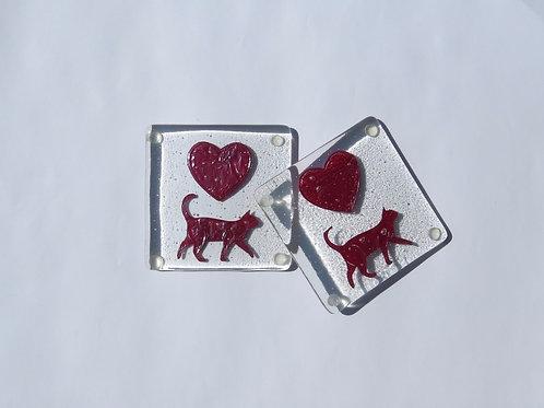 Cat Heart Coasters