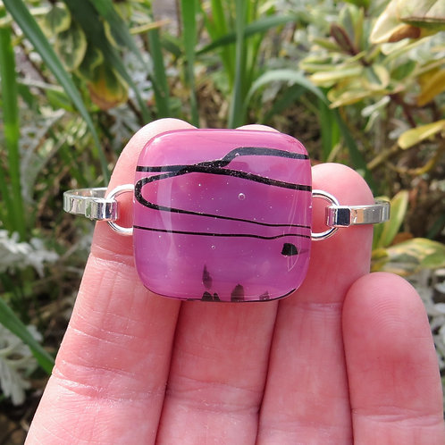 Pink fused glass silver plate bracelet bangle