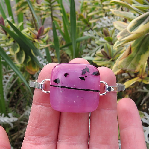 Pink fused glass silver plate bracelet bangle