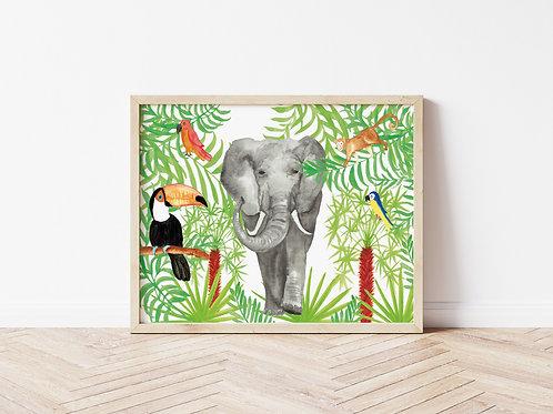 Jungle Scene Print - A4