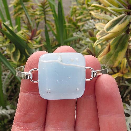 Light blue fused glass silver plate bracelet bangle