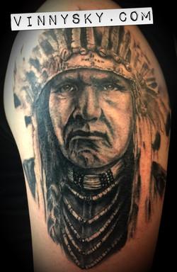 Indian Chief Portrait Tattoo