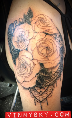 Lace waterclor tattoo first sitting