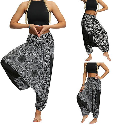 Baggy Boho Loose Aladdin Festival Hippy Smock Jumpsuit High Waist Pant #T1G