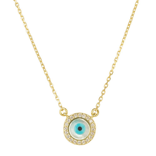 Evil Eye Mother of Pearl Necklace CZ Gold