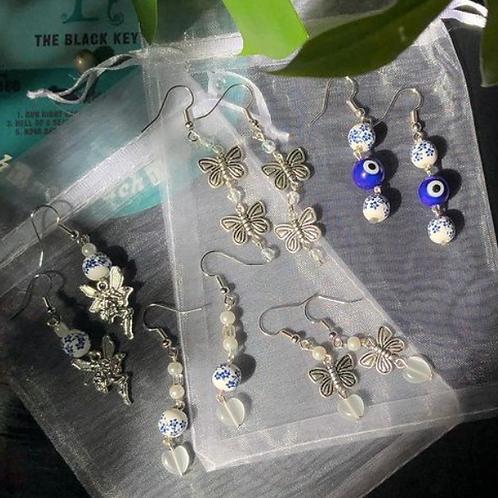 Blue, Silver &Pearl Earrings