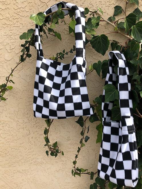 B&W Checkered Fuzzy Bag
