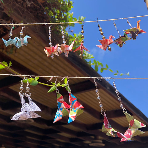 Origami Earrings - Crane and Butterfly