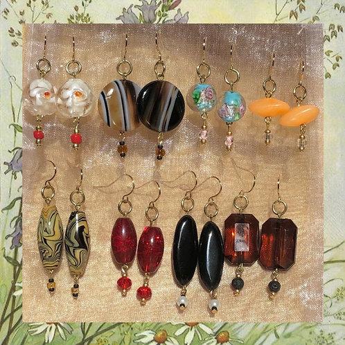 Golden Beaded Earrings