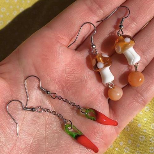 Mushroom and Pepper Earrings