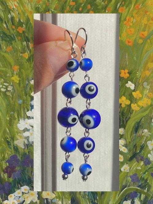 5 Tier Blue Evil Eye Earrings