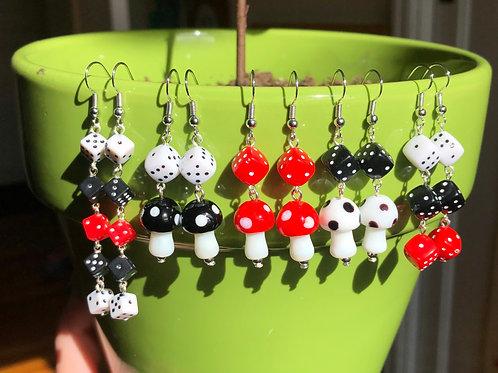 Dice and Mushroom Earrings