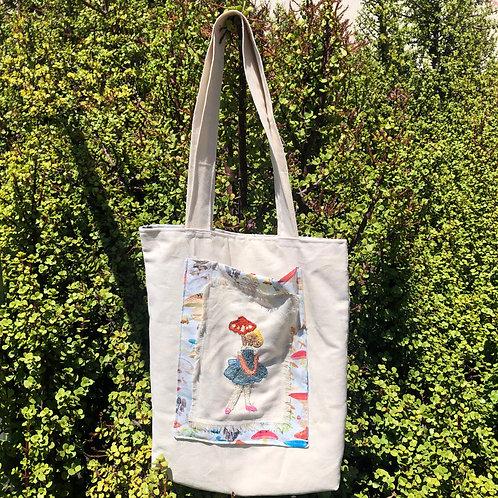 Embroidered Mushroom Girl Tote Bag