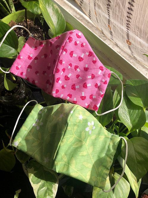 Pink Mushroom & Green Floral Masks