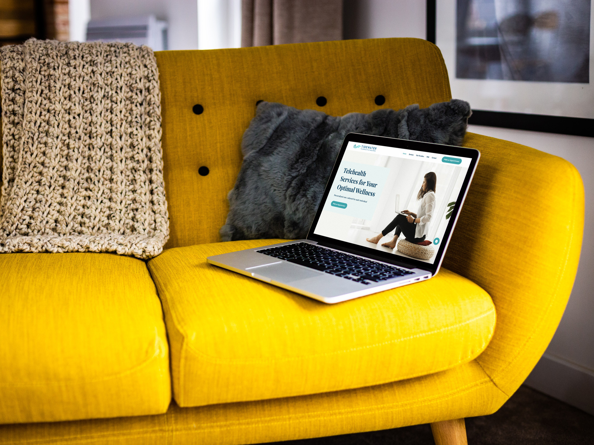 MacBook Pro Retina on Bright Sofa Real W