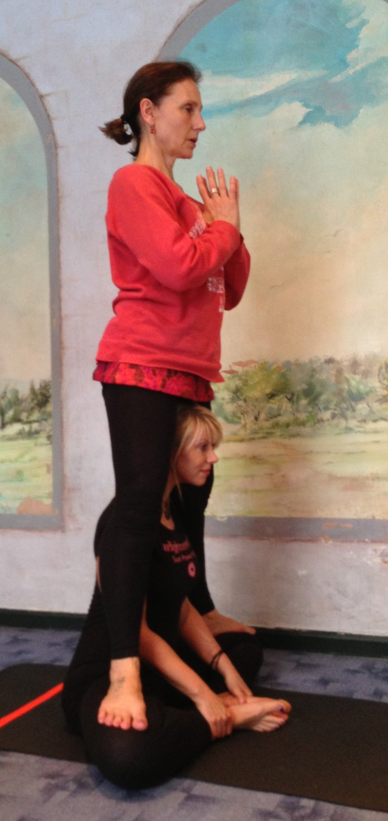 My teacher AnneMarie standing on me!