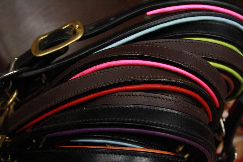 Leder-Stallhalfter färbig unterlegt - Größe FS