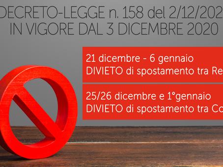 Stop agli spostamenti tra regioni durante il periodo natalizio