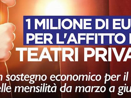 Emergenza Coronavirus: La Regione Lazio stanzia 1 milione per gli affitti dei teatri