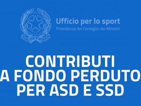 I Contributi a fondo perduto per ASD/SSD
